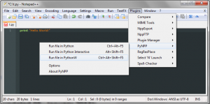 PyNPP Notepad++ Plugin Screenshot